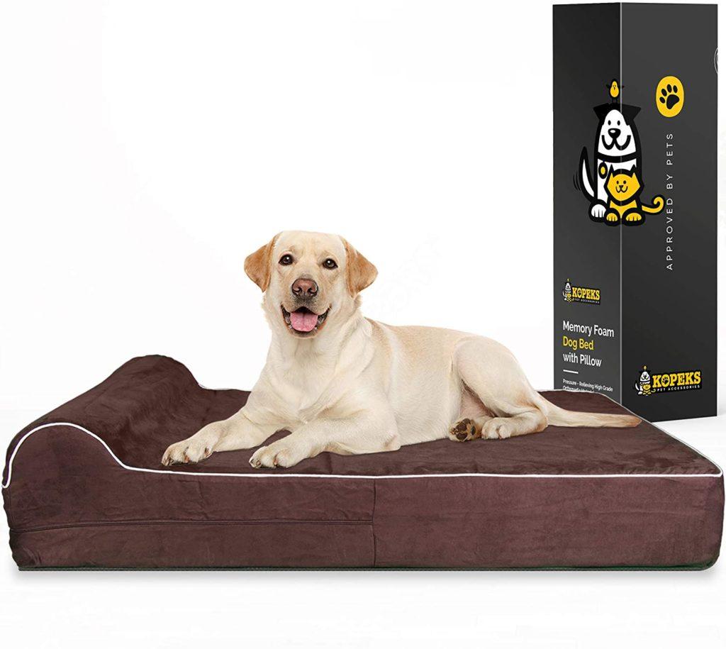KOPEKS Orthopedic Memory Foam Dog Bed for Large Dogs